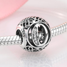 For fashion Lady Festival Gift jewelry Hollow Letter O 925 Sterling Silver Fit Original Pandora Charm Bracelets making(China)