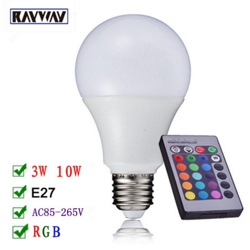 Free Shipping RAYWAY LED RGB Bulb E27 3W 10W LED Lamp Spot light Bulb 16 Color Change Lampada LED RGBW Lamp With Remote Control 3w led rgb high power led lamp bulbs rgb six legs 350ma 3 2 3 4v taiwan genesis hpo chips free shipping