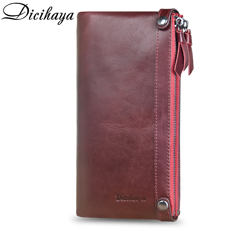 DICIHAYA Luxury Brand Genuine Leather Women Wallet Double Zippers Leather Wallets Long Clutch Coin Purse Pocket Red Phone Bag