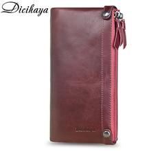 DICIHAYA Luxury Brand Genuine Leather Women Wallet Double Zi