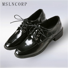 plus size 34-43 Patent Leather Oxford Shoes Flats Fashion Women Shoes Lace Up Casual Moccasins Loafers Ladies Shoe zapatos mujer