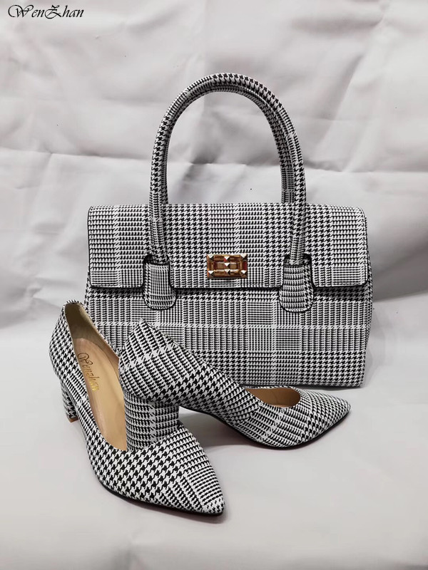 Newest Pumps With Handbag Sets Classic pattern of stripe Stronger Heel Pointed Toe Soft Shoes With Bag Custom Heel Accept!A87-19Newest Pumps With Handbag Sets Classic pattern of stripe Stronger Heel Pointed Toe Soft Shoes With Bag Custom Heel Accept!A87-19