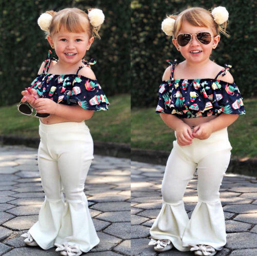 4496634cbfd Fashion Toddler Kids Girls Off Shoulder Floral Cartoon Patterns Print Crop  Tops High Waist Flares Pants Outfits Set
