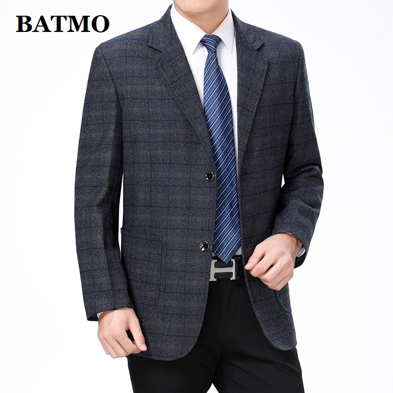 Batmo 2019 New Arrival High Quality Cotton Plaid Casual Blazer Men,men's Suits Jackets ,casual Jackets Men 52