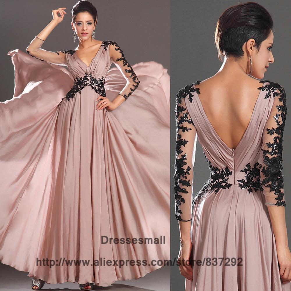 Rosa claro negro encaje de noche largo vestidos de manga larga ...