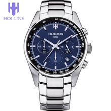 Men Watch Quartz Blue Dial Silver Steel Watches tools for watchmakers Holuns Mens fashion Watches Top Brand Luxury Free shipping
