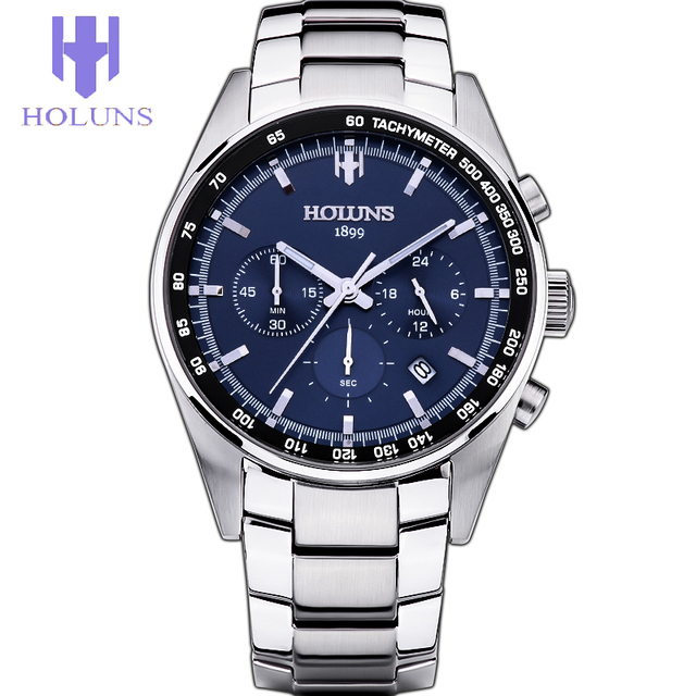 Holuns homens de negócios de luxo marca top blue dial prata relógio de quartzo-relógio cronógrafo data luminosa de aço moda casual twatch