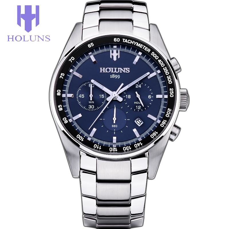 ФОТО Men Watch Quartz Blue Dial Silver Steel Watches tools for watchmakers Holuns Mens fashion Watches Top Brand Luxury Free shipping