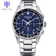 Mens Relojes Primeras Marcas de Lujo de Los Hombres Reloj de Cuarzo de moda relogio masculino Relojes de Acero herramientas para relojeros Azul Esfera Plata/ss