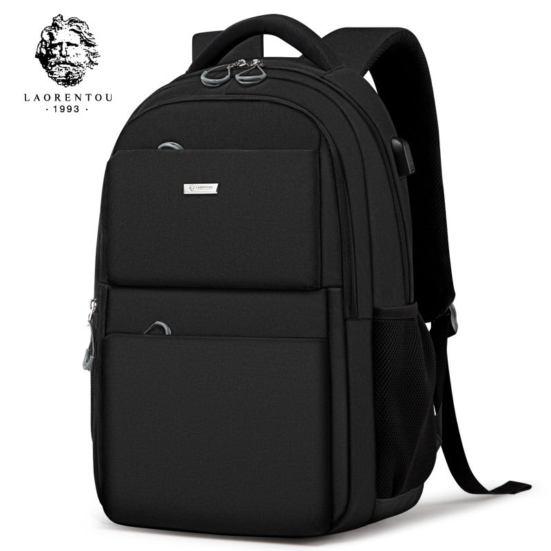 Laorentou Men Backpack Shoulder Bag Simple School Bag Travel Brand Waterproof Backpack Notebook Computer Anti-thief USB Bag
