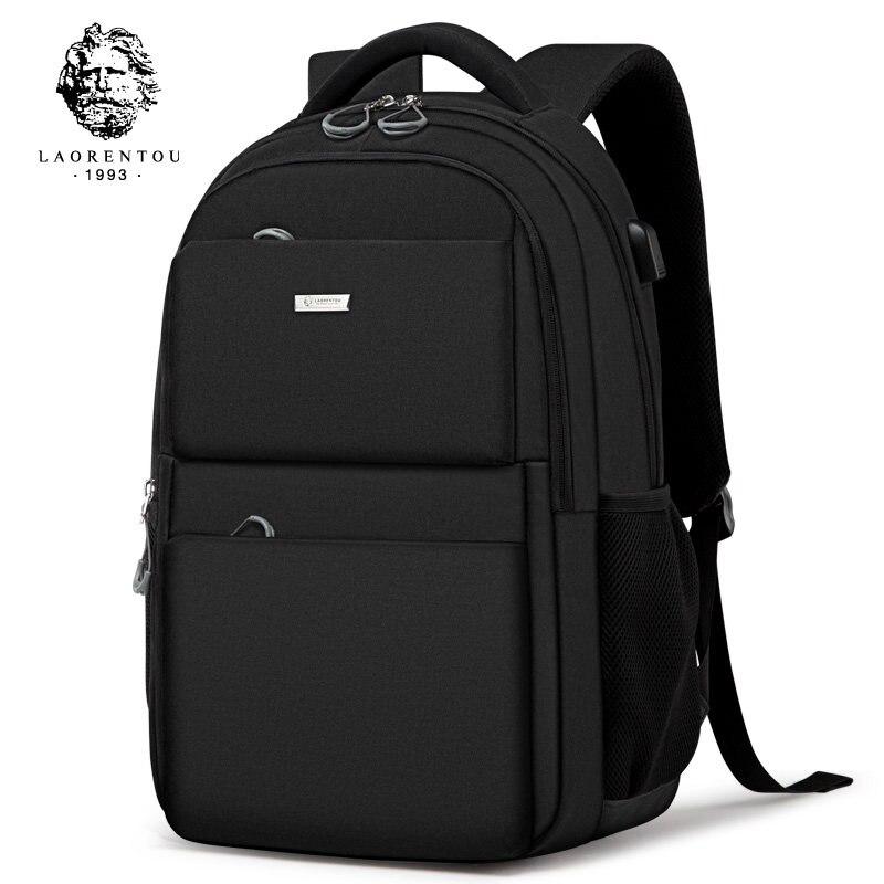 Laorentou Men Backpack Shoulder Bag Simple School Bag Travel Brand Waterproof Backpack Notebook Computer Anti-thief USB Bag waterproof fashion simple men backpack