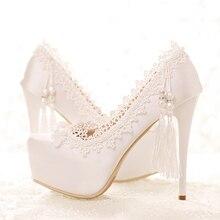 2017 Blanco Satén Zapatos de tacón alto de La Perla Super Impermeable Zapatos de Novia de la Boda de Encaje Borlas Bien con la Boca baja de Las Mujeres zapatos
