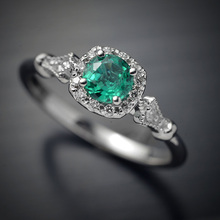 Green Zircon Big Stone Ring Wedding Promise Engagement Silver Rings For Women