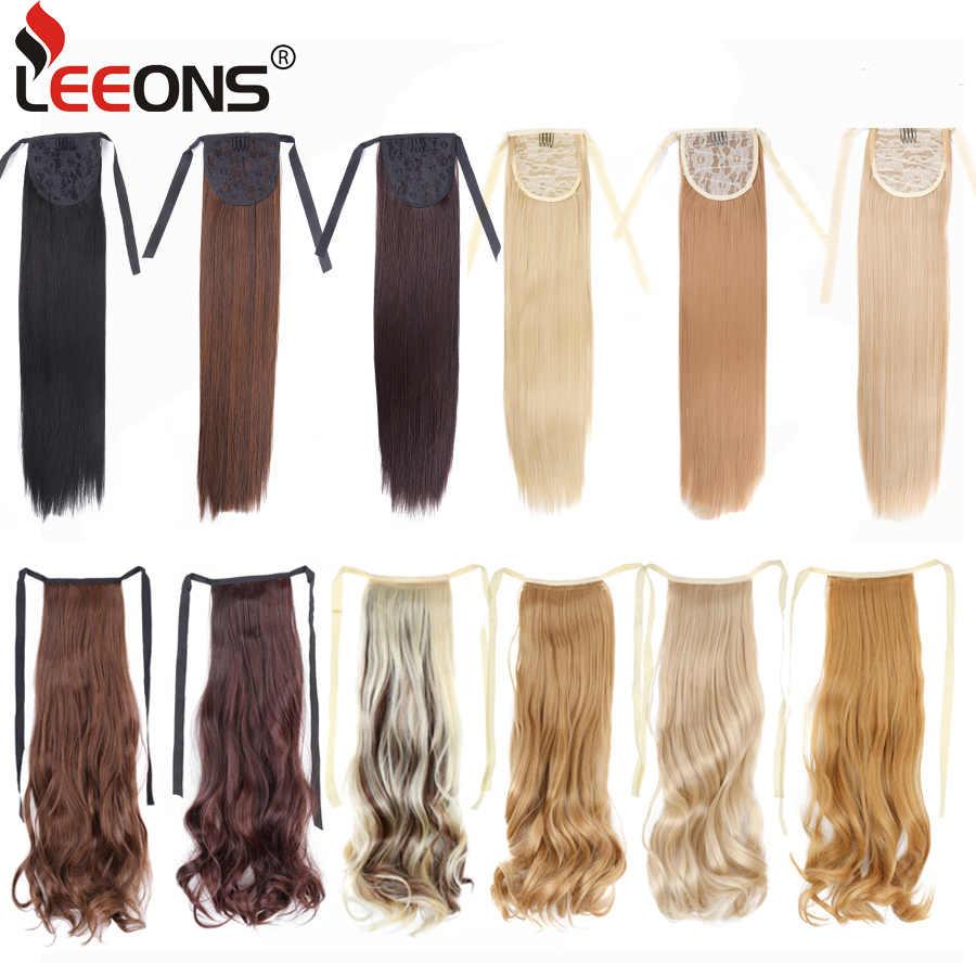 """Leeons 18 """"طويل مستقيم ذيل حصان للنساء وصلة شعر يتم تركيبها بمشابك في ذيل حصان الاصطناعية الرباط شعر مستعار ذيل حصان شعر مستعار"""