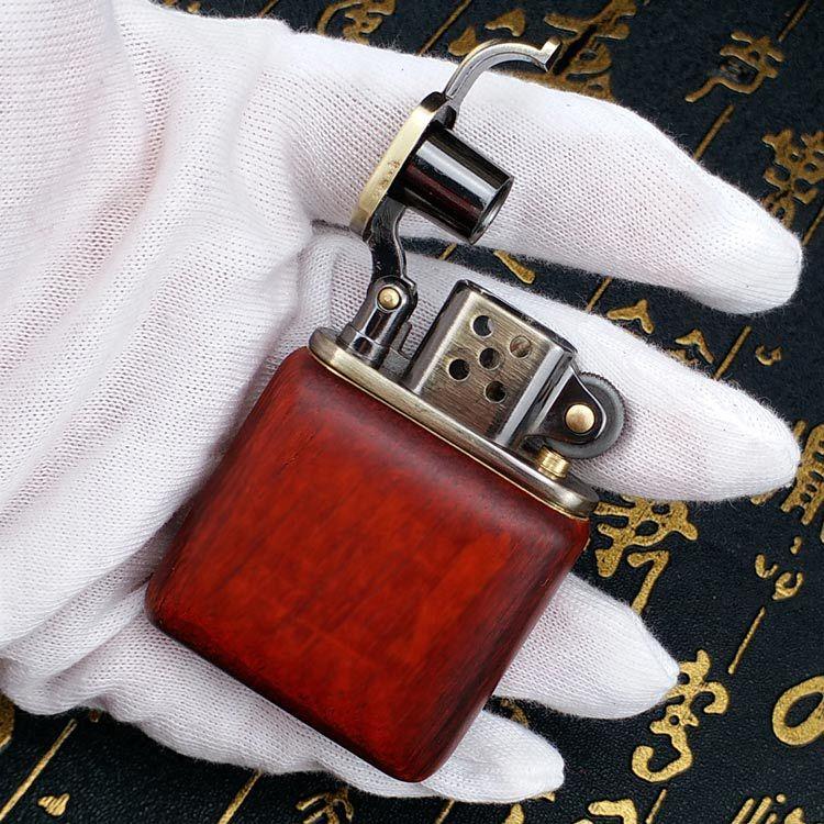 Briquet en bois de rose essence pour Cigarette | Vintage G meules, huile essence rechargeable silex Kerosene briquet