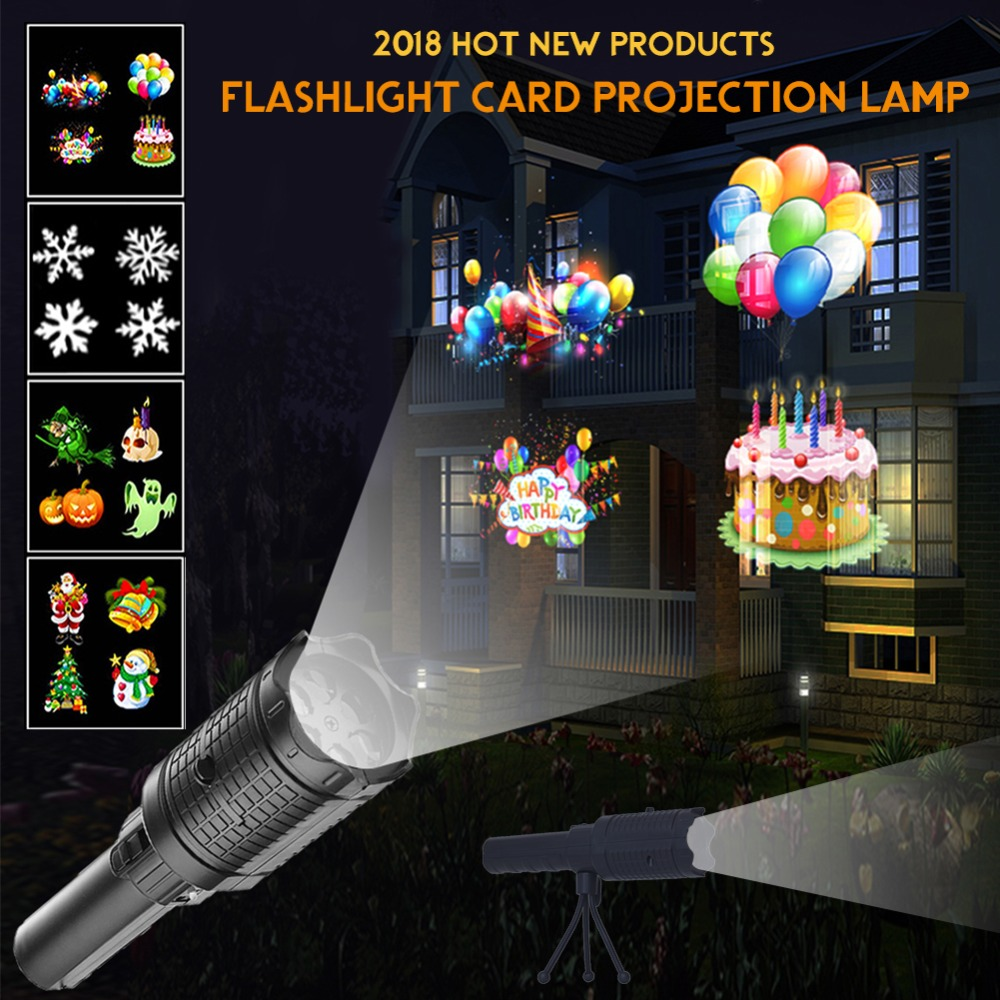 New Arrival LED Flashlight Laser Projector Lamp 4 Patterns Laser Projector Lighting Children Christmas Gift Snowflake Birthday