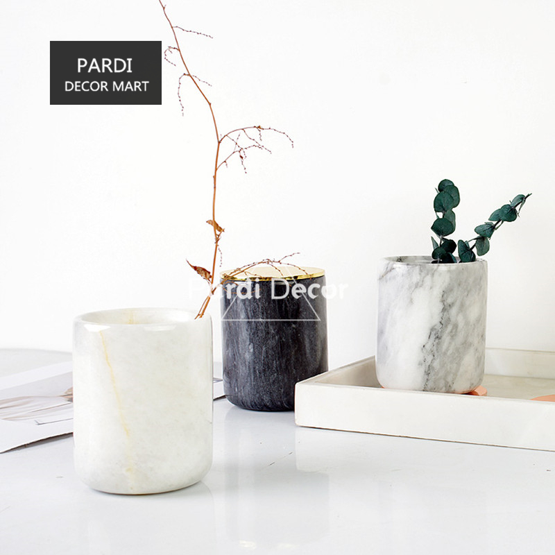 New European Natural Marble candle/ pen holder flower vase cosmetic brushes container home decoration 1pc/lot