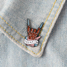 Cartoon DREAM ON Enamel Pins Badge Brooch Rock Band Lapel pin Denim Shirt Collar Punk Creative Fashion Jewelry Gift accessories(China)