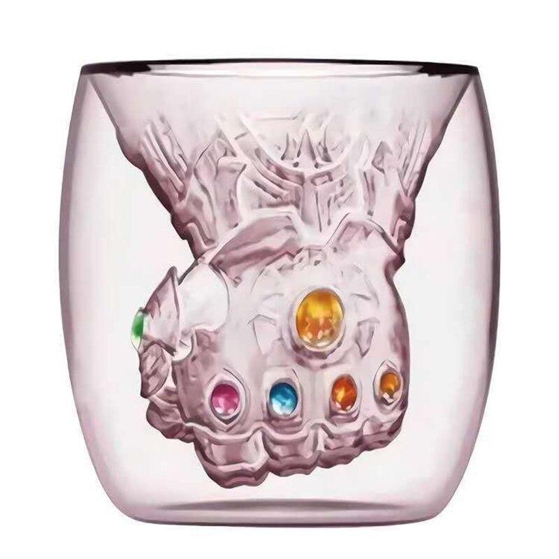 Novo thanos punho parede dupla vidro artesanal leite caneca de café copo chá uísque vidro infinito gem drinkware decoração