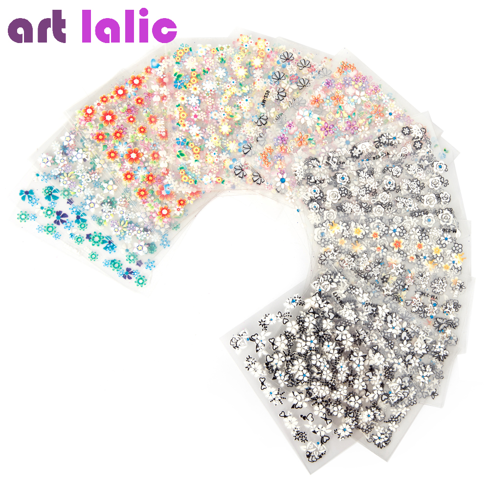 50 Sheets 3D Nail Art Stickers Decals High Quality Mix Color Flowers Design Nail Tips Decoration Manicure DIY Tools