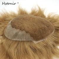 Hstonir תחרת חלק שיער רמי אדם פאה שיער פאה גברים תחרה שוויצרית מול עליון עור דק עבור מכירות H045