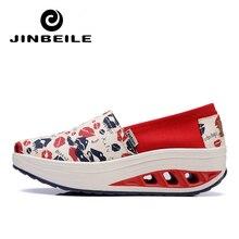 JINBEILE Women Toning Shoes Platform Canvas Swing Sneakers 2018 New 4.5 CM Height Increasing Slip On Female Slimming Shoes