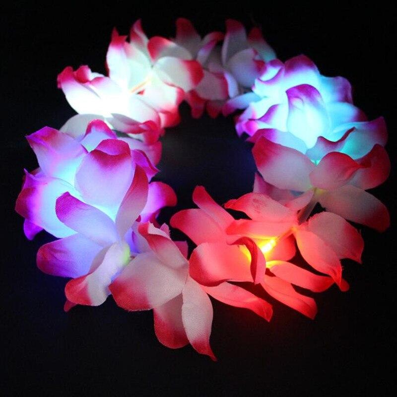 women girls light leis hawaii garland flashing led artificial flower