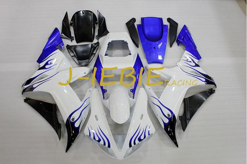 White blue black Injection Fairing Body Work Frame Kit for Yamaha YZF 1000 R1 2002 2003