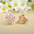 MECHOSEN Brand Mix Color Rhinestones Stud Earrings For Women CZ Zircon Gold Soft Copper Oorbellen Ear Piercing Decoration Bijoux