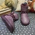 Moda de alta Qualidade Mulheres Botas De Neve Genuína Botas De Inverno de Couro de pele de Carneiro 100% Lã Natural Pele Morno Mulheres Botas