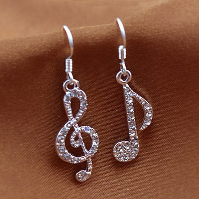 New Modern Drop Earrings Music Character Elegant Temperament Silver Plated For Women Fashion Jewelry 7837
