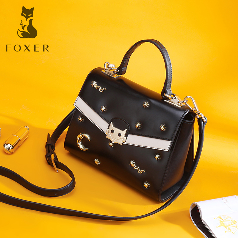 FOXER Leather Women Shoulder Bags 2018 New Fashion Ladies Hight Quality Crossbody Bag Cowhide Messenger Bags for Woman