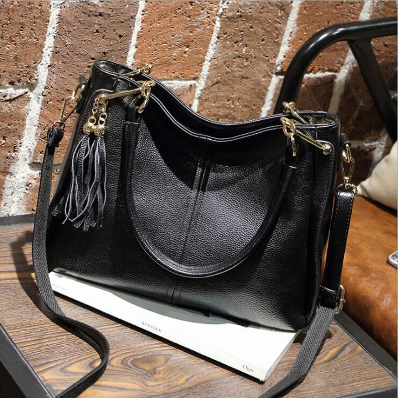 New 2016 Genuine Leather women handbags Fashion Women Messenger Bags Cowhide Tassel Bag female shoulder crossbody bags VR1018