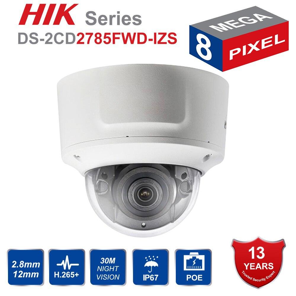 Hik Original Vari focal 2 8 12mm Dome IP Camera DS 2CD2785FWD IZS 8Megapixel Video Surveillance