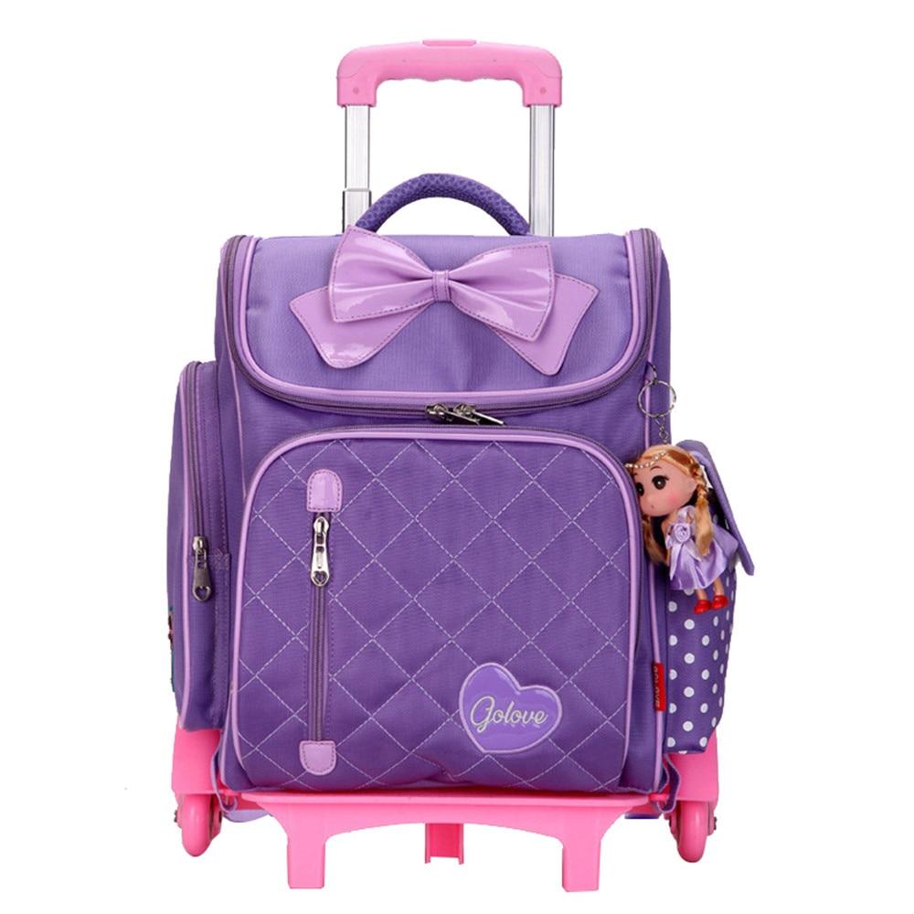 Lovely Removable Children School Bags 6 Wheels for Sweet Girls Trolley school Backpack Kids backpack travel luggage Mochila