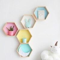 2PCs/Set Nordic Style wooden Hexagon decorative Shelves Nursery Kids baby child Room Decoration ornaments storage rack holder