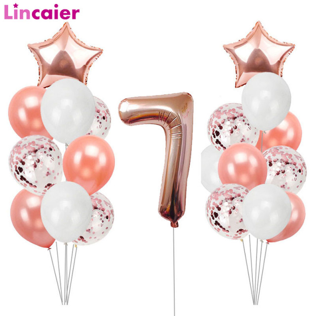 Lincaier Number 7 Balloons For Years Old Girls Boy Birthday Party Decorations 7th Seven Supplies
