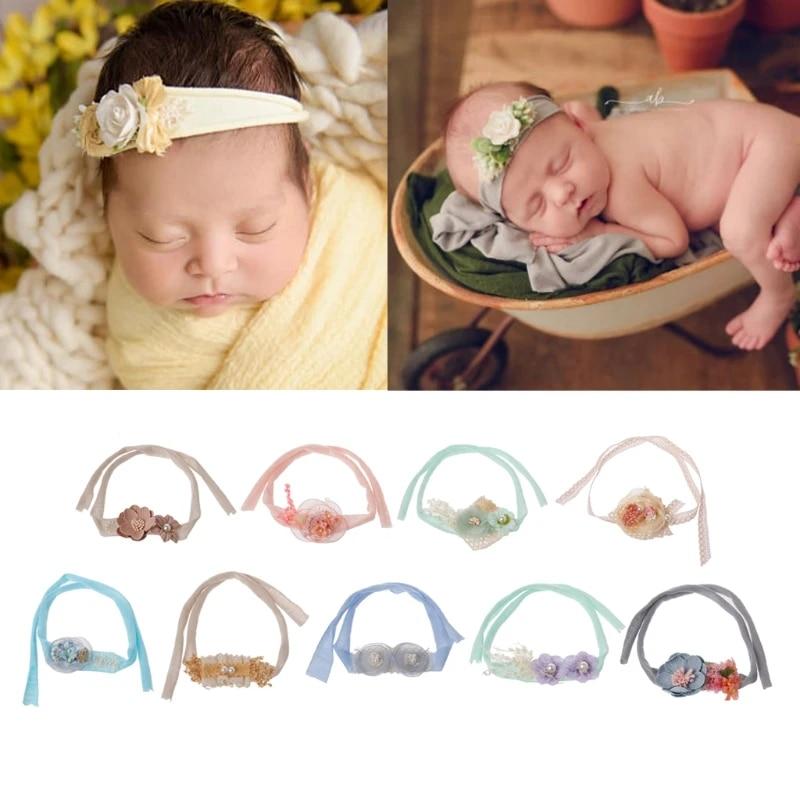 Baby Headband Organic Headband Newborn Tieback Flower Headband Photo Prop Vintage Prop Headband Newborn Photography