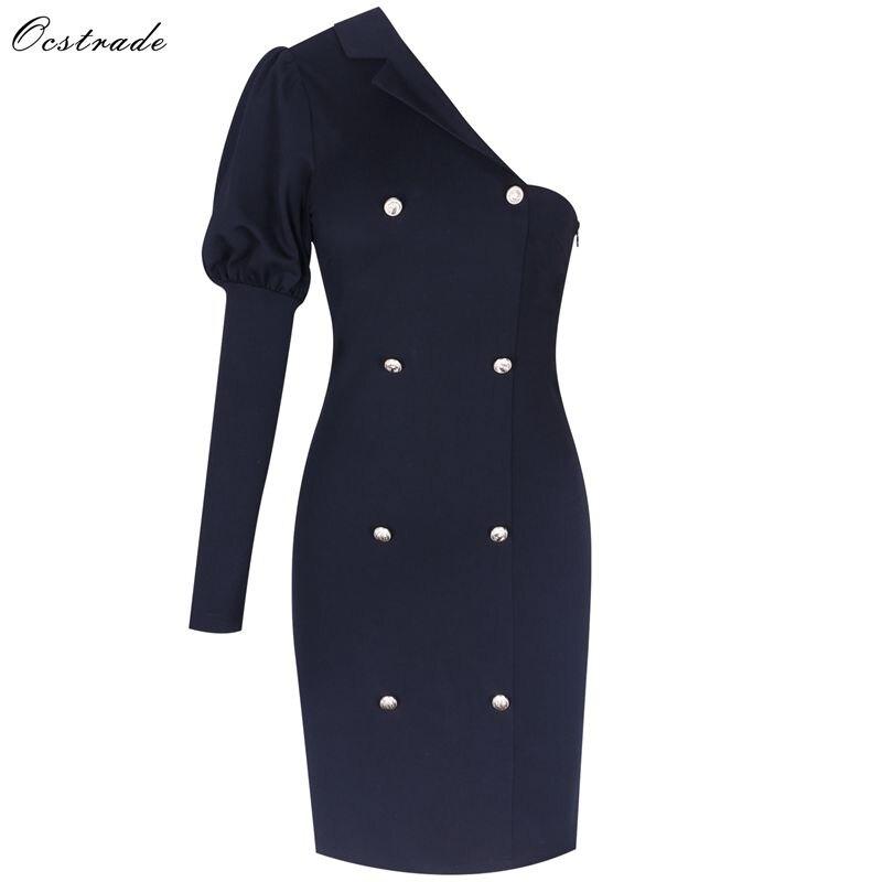 Ocstrade nouveauté 2019 robes femmes moulante robes de soirée Sexy noir moulante une épaule à manches longues moulante robes