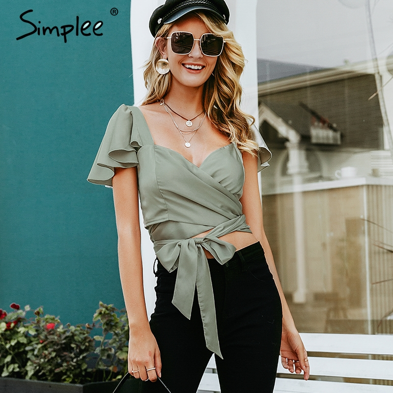 Simplee Satin green tank tops S19TP1078