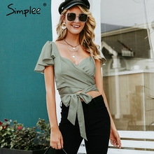 Simplee Sexy satin green women summer crop top Ruffle bandage sashes female caim party club ladies solid fitness tank tops 2019