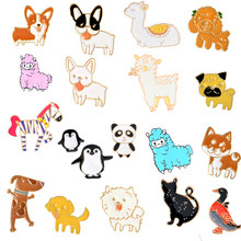 Animal Carnaval Cartoon Leuke Hond Kat Pet Penguin Panda Alpaca Schapen Kameel Eend Paard Emaille Badge Broches Pin(China)