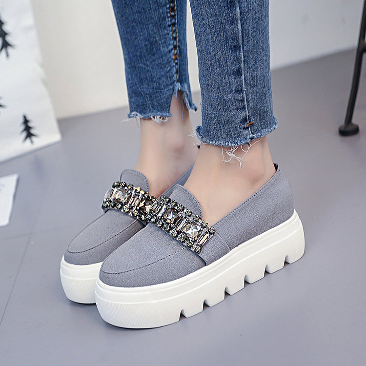 Automne rouge Strass Chaussures 2018 Creepers Mode Slip Noir De Sur forme Plate Profonde Plat Troupeau gris Printemps Peu Femmes R1nqBnX