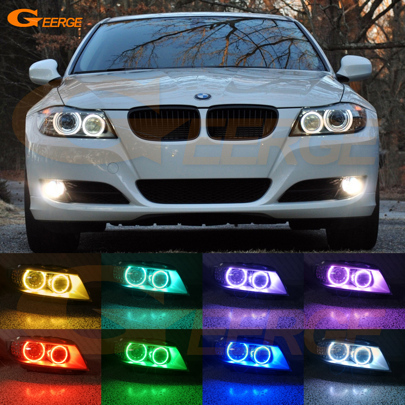 For BMW 3 Series E91 E90 2009-2012 Xenon headlight Excellent Multi-Color RGB LED Angel Eyes kit halo rings