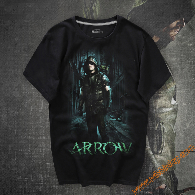 Black Arrow Mens Shirts Mavel Oliver Queen Green Arrow T-shirts