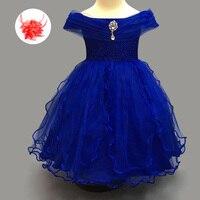 Kids Designer Clothes China Lovely Toddler Wedding Gown White Champagne Royal Blue Tulle Little Girls Dresses