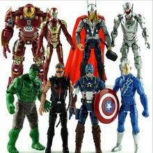 8 Pçs/lote Marvel Os Vingadores Hulk + Capitão América + Iron Man + Raytheon PVC Action Figure Modelo Toy Boneca(China)