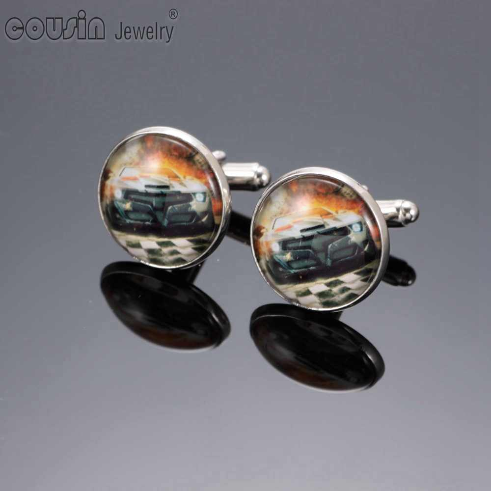 New Arrivals Mixed Pattern Silver Plated Cufflinks for men and women 18mm glass Cufflinks for mens XK0007-0014