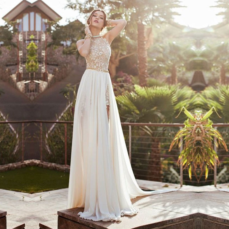 Hot 2019 New Best Selling Romantic High Neck Lace Beaded Chiffon High Low White bridal gown Wholesale bridemaid dresses in Bridesmaid Dresses from Weddings Events