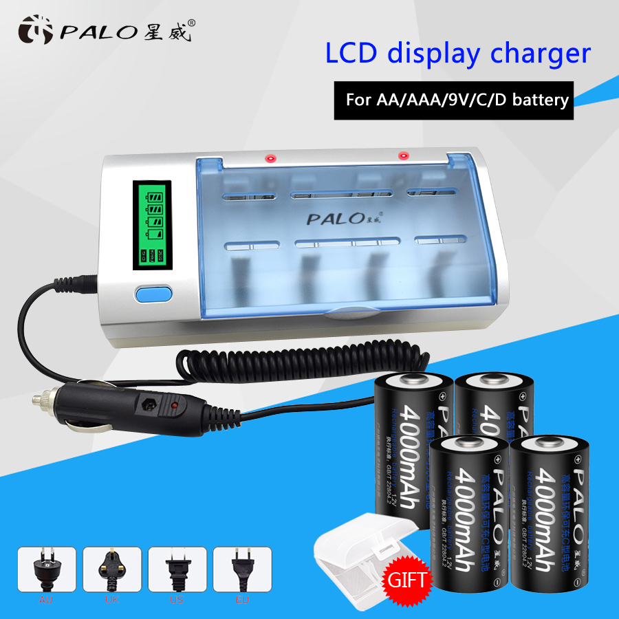 2017 LCD Multifunction Fast Battery Charger For NIMH NICD AA/AAA/SC/C/D/9V Battery +4pcs 4000mah C size Rechargeable Batteries